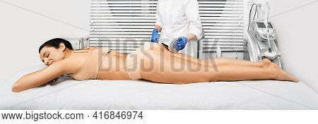 Beautiful Woman Enjoys Buttocks Massage With Endosphere Machine For Anti-cellulite And Body Correcti