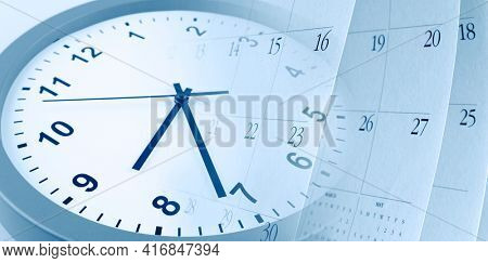 Clock face and calendar pages composite