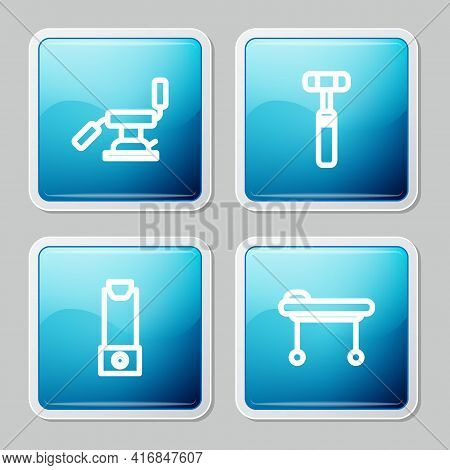 Set Line Medical Dental Chair, Neurology Reflex Hammer, Inhaler And Stretcher Icon. Vector