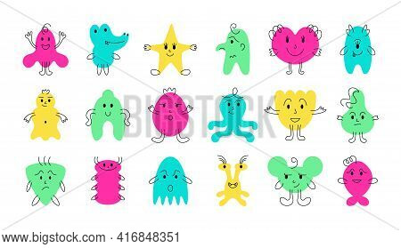 Cute Monster Faces. Funny And Scary Cartoon Minimalistic Monsters With Cheerful Face Emotions. Vecto