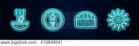 Set Line Soup With Octopus, Octopus On A Plate, Sushi And Sea Urchin. Glowing Neon Icon. Vector