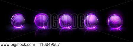 Force Shield Bubbles, Power Energy Glowing Glass Spheres, Defense Dome Fields. Purple Magic Crystal