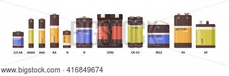 Set Of Metal Nickel And Lithium-ion Batteries Of Different Sizes, Power And Voltage. Alkaline Energy