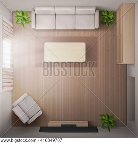 Living Room Interior Top View With Sofa, Tv, Armchair And Coffee Table. Home Render With Television