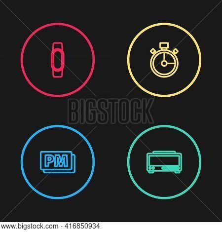Set Line Clock Pm, Digital Alarm Clock, Stopwatch And Smartwatch Icon. Vector