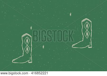 Cute cowboy boots background in rodeo theme