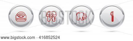 Set Line Dental Floss, Teeth With Braces, Tooth Treatment Procedure And . Silver Circle Button. Vect