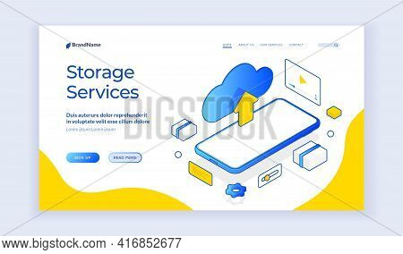 Storage Services. Isometric Vector Web Template Of Cloud Storage And Mobile Phone. Digital Service O