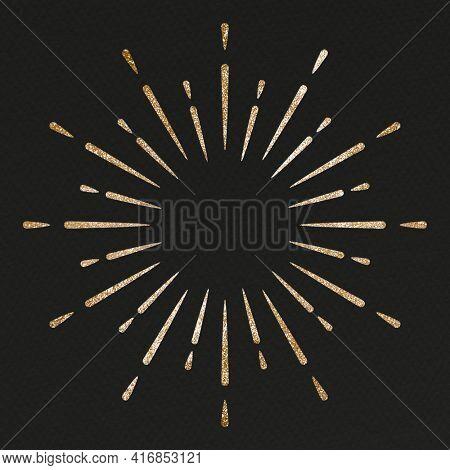 Glittery sparkling festive firework on black background