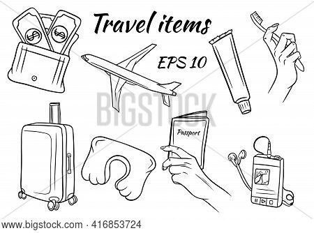 Set Of Line Images Items For Travel. Airplane And Train Flight Items. For Decoration And Design.