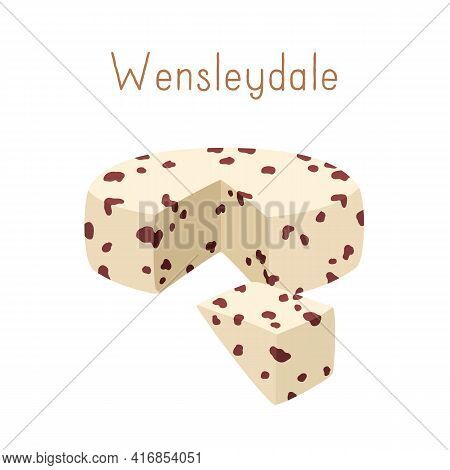 Gourmet English Cheese Wheel Of Cranberry Wensleydale With Berries. Cut Triangle Piece Of Delicious
