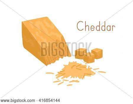 Cheddar Pieces And Grated Hard Cheese. Delicious Gourmet Yellow Chees. Dairy Product. Colored Flat V