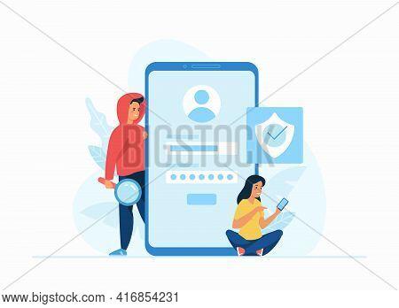 Stealing Data Concept Flat Vector Illustration. Online Registration Form, Login To Social Media Acco