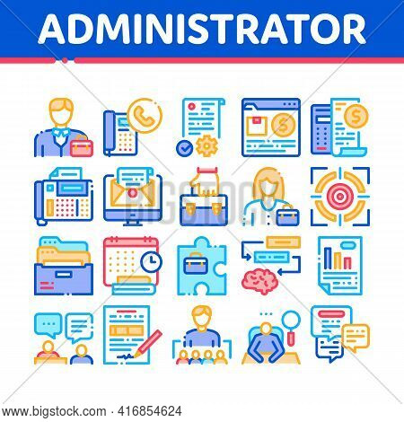 Administrator Business Collection Icons Set Vector. Analyzing And Researching Chart, People Administ