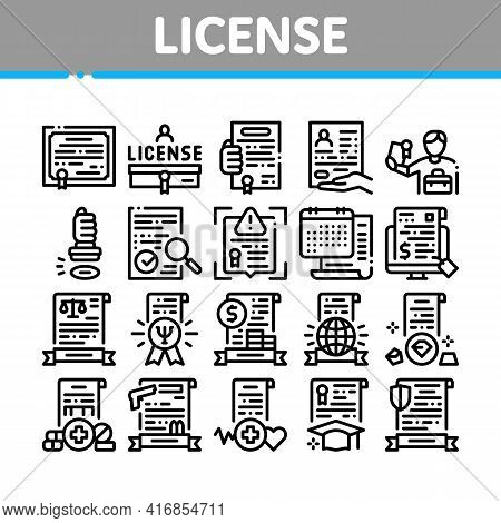 License Certificate Collection Icons Set Vector. Pharmaceutical And Medical License, International L
