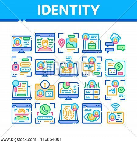 Digital Identity User Collection Icons Set Vector. Electronic Signature And Face Scanning, Eye And F