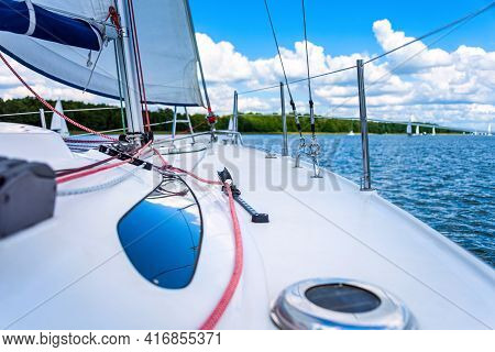 View From A Main Deck Of Sailboat On A Lake. Summer Vacations, Cruise, Recreation, Sport, Regatta, L