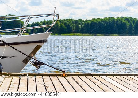 Yachts Moored In A Harbor. Sailboats In The Dock. Summer Vacations, Cruise, Recreation, Sport, Regat