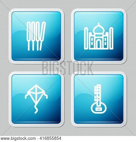 Set Line Aroma Sticks, Incense, Taj Mahal, Kite And Sitar Icon. Vector