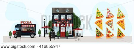 Big Vector Pizza Set With Food Truck, Pizzeria. Vector Flat Illustration Slices Of Pizza, Street Foo