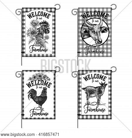 Farm Flags Set. Welcome To Our Farmhouse. Domestic Birds, Animals, Sunflowers. Rooster, Goat And Cow