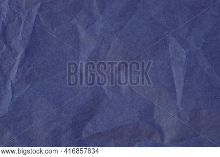 Blue Color Creased Paper Tissue Background Texture, Wrinkled Tissue Textured Paper