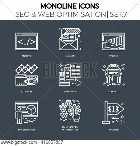 Line Icons Set With Flat Design Of Search Engine Optimization. Coding, Mailing, Income, Expenses, La