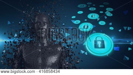 Composition of grey human digital bust over icons with online security padlocks. global technology, digital interface and data processing concept digitally generated image.