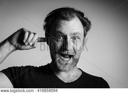 Man portrait in black and white. Man portrait in black and white technique. Portrait of man in black and white. man portrait. Studio portrait of man.