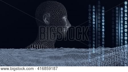 Composition of human digital head and binary coding processing. global technology, digital interface and data processing concept digitally generated image.
