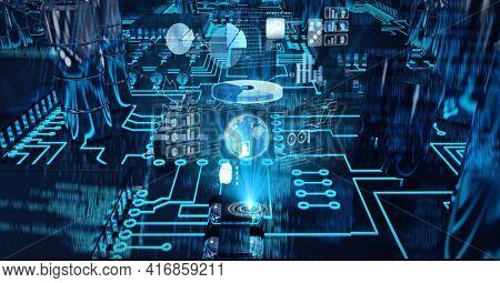 Composition of globe with digital icons over processor circuit board. global technology, digital interface and data processing concept digitally generated image.