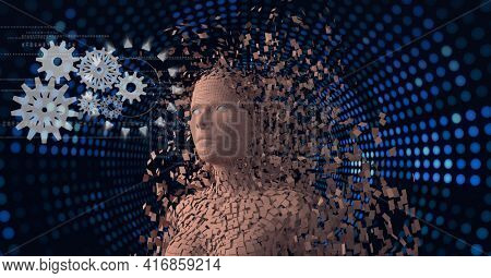 Composition of exploding human digital bust over cogs and rows of blue dots. global technology, digital interface and data processing concept digitally generated image.