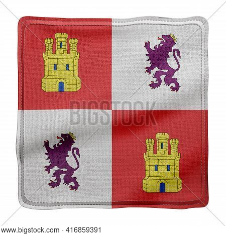 3d Rendering Of A Silked Castilla Leon Spanish Community Flag On A White Background