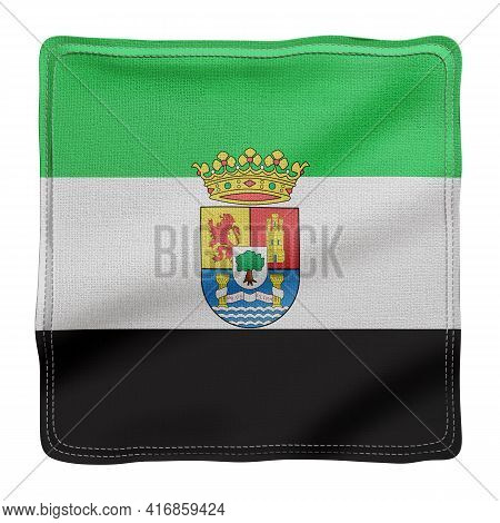 3d Rendering Of A Silked Extremadura Spanish Community Flag On A White Background