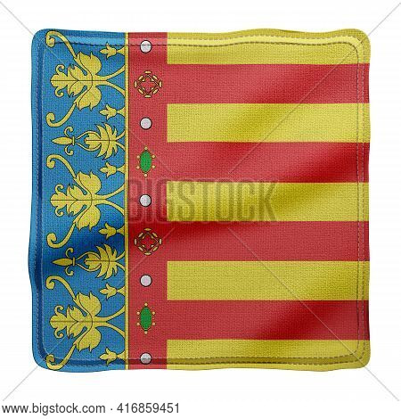 3d Rendering Of A Silked Valencian Spanish Community Flag On A White Background