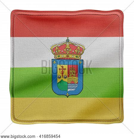 3d Rendering Of A Silked La Rioja Spanish Community Flag On A White Background