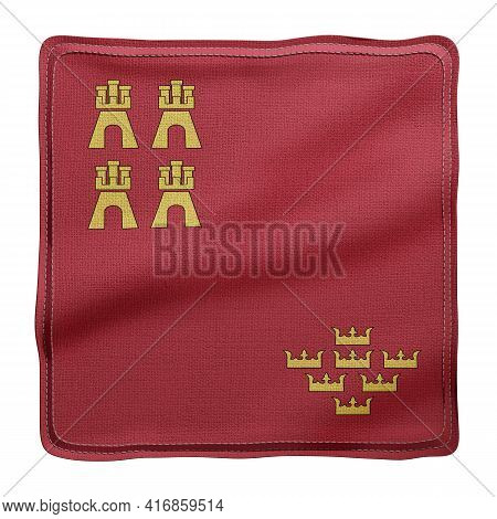 3d Rendering Of A Silked Murcia Spanish Community Flag On A White Background
