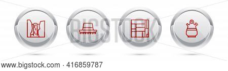 Set Line Algar Waterfall, Spanish Hat, House Edificio Mirador And Sangria Pitcher. Silver Circle But