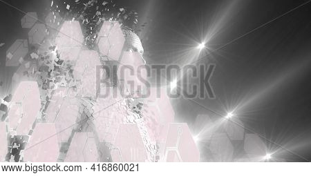 Grey hexagons over computer generated human dissolving into pieces. technology and cyber futurism concept, digitally generated image.