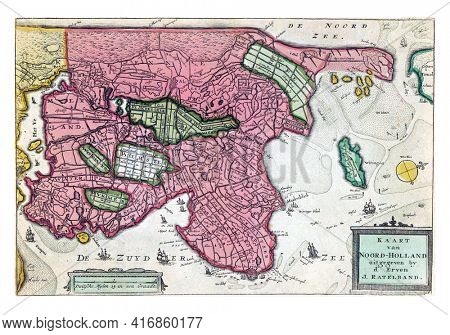 Map of North Holland, vintage engraving.