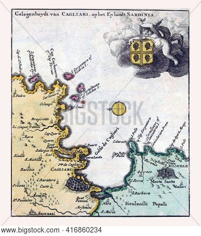 Map of Cagliari in Sardinia, vintage engraving.