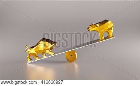 Fighting Bull And Bear, Stock Market Bullish And Bearish