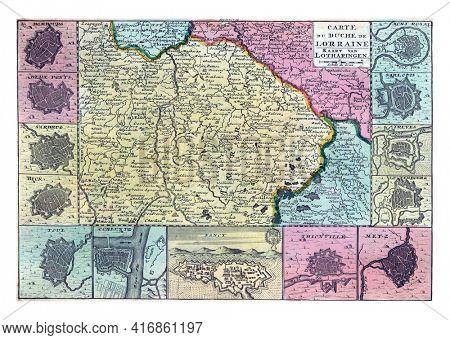 Map of Lorraine, vintage engraving.