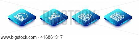 Set Isometric Line Montreal Biosphere, Lobster, Chateau Frontenac Hotel And House Icon. Vector