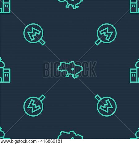 Set Line Map Of Ukraine, Metro Or Underground And Church Building On Seamless Pattern. Vector