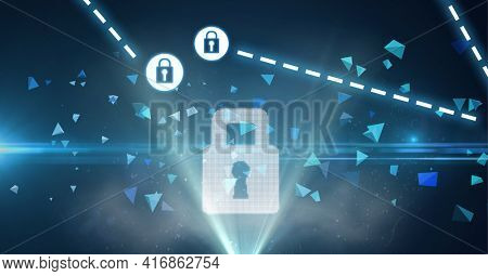Composition of network of connections with online security padlocks and digital triangles. global technology, online cyber security and digital interface concept digitally generated image.