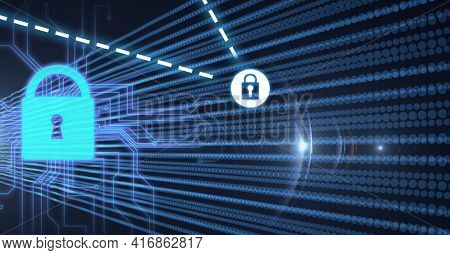 Composition of network of connections with online security padlocks and digital lines. global technology, online cyber security and digital interface concept digitally generated image.