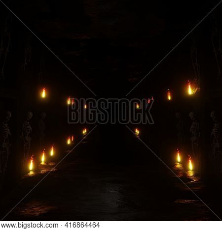 3d Illustration Background For Advertising And Wallpaper In Scary  And Horror Scene. 3d Rendering In