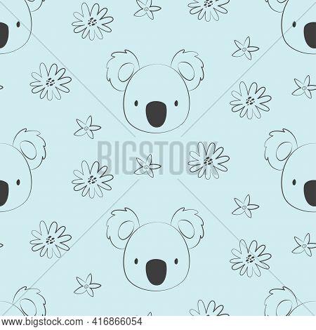 Seamless Pattern With Cute Character Koala Face. Cute Vector Illustration For Kids - Koala. Ideal Pr