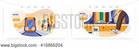 Metro Landing Page Design, Website Banner Vector Template Set. Blind Man With Cane Waiting For Train